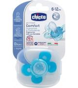 CHICCO Ergonoomiline silikoon lutt, sinine 6-12K / 1Tk