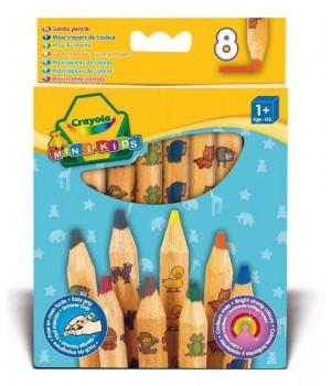 CRAYOLA MINIKIDS 8 suurt dekoreeritud pliiatsit